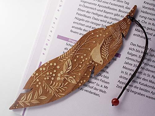Personalisiertes Lesezeichen aus Holz, Vogel und Blumen, MinaturArt