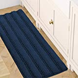 Bath Rugs for Bathroom Washable Non Slip Extra Thick Chenille Striped Bath Mat Rug Runners 47' x 17' Absorbent Fluffy Soft Shaggy Mats Dry Fast Plush Area Carpet for Bath Room, Tub - Navy