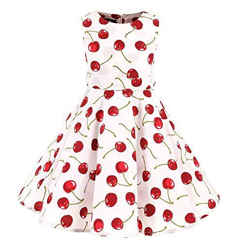 SXSHUN Mädchen Retro Vintage Rockabilly Kleid Partykleider Cocktailkleider Im 50er-Jahre-Stil, Weiß Kirsche, 146 (Etikettengröße:150)