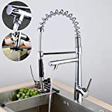 Kitchen Faucet Commercial Pull Down Sink Mixer Single Handle Dual Function Swivel Spout Luxury Chrome Finish Leekayer