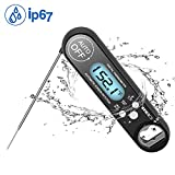 MEIDI Food Thermometer Waterproof Digital Cooking Kitchen Meat Thermometer (Black)
