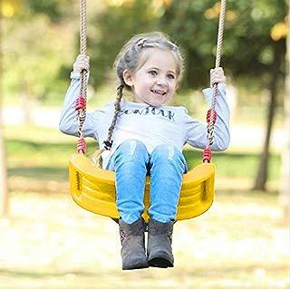 Beebeerun Kids Swing Swing Seat Chair Swing, Rigid Hard Kids Seat, Child Swing Indoor/Outdoor Play Swing Seat Children Backyard Swing with Ropes & Chains (Lemon Yellow)