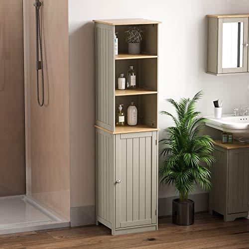 Bath Vida Priano Armadietto da Bagno a Pavimento, Colore: Grigio, Grey Bathroom Cabinet with Shelf,...