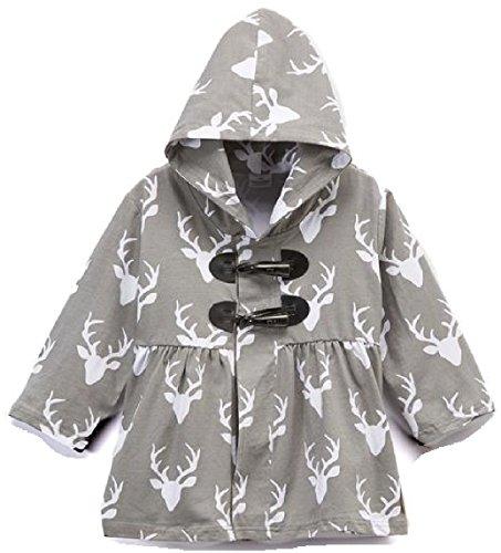 BluNight Collection Little Girl Kids Long Sleeve Reindeer Print Cotton Girls Jacket Coat Grey 3T S (900110JACKET)