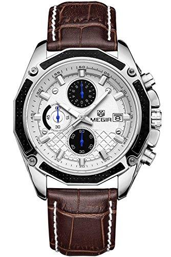 Megir - Reloj de Pulsera analógico de Cuarzo para Hombre, Estilo Militar, Estilo piloto, multifunción, de Piel, cronógrafo, Reloj de Pulsera, Impermeable, Luminoso,