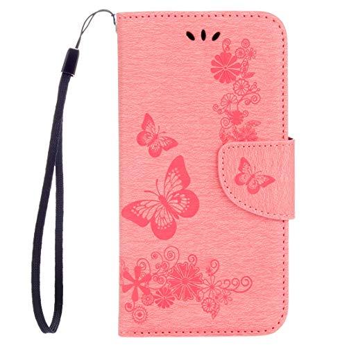 LENASH For el caso de Huawei P8 Lite (2017) Las mariposas en relieve horizontal de cuero del tirón con el sostenedor y ranuras for tarjetas y monedero y la cuerda de seguridad (Negro) Q Carcasa de tel