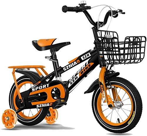 JHNEA Bicicletas Infantiles niña niño 2-5 años Bicicletas 12 14 Pulgadas Ruedas auxiliares Bicicleta para niños Timbre y Ruedas de Entrenamiento,Orange_14'