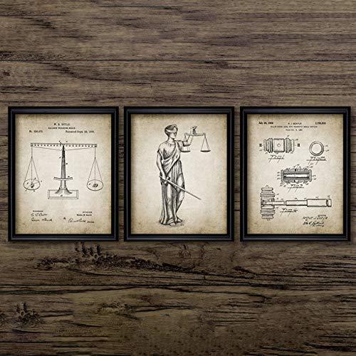 Rechtsanwalt Lady Justice Law Patent Poster und Drucke Waage der Gerechtigkeit Rechtsanwalt Geschenk Kunst Leinwand Gemälde Anwaltsbüro Wanddekor 3 Stück 40 * 50 cm * 3 ohne Rahmen