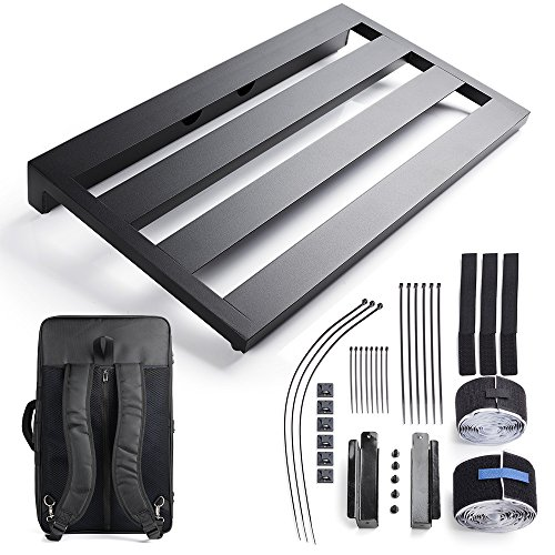 Vangoa Ghost Fire Aluminum Guitar Pedal Board 22' x 12.6' x 2.36' with Carry Bag and Power Supply Mounting Brackets
