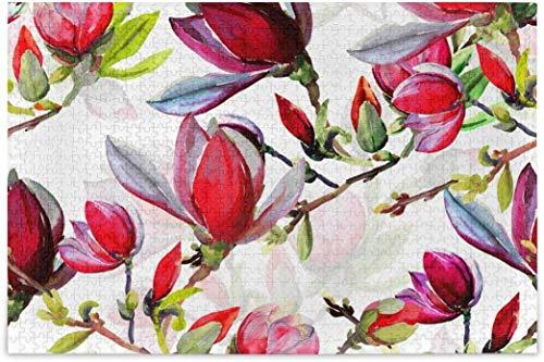 Rompecabezas para adultos 1000 - Flores Magnolia Difícil Puzzles Piezas para la Universidad Familiar Juegos de Puzzle