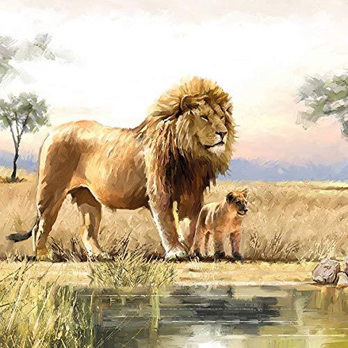 20 Servietten Löwenfamilie am Wasser als Tischdeko oder zum Basteln mit Serviettentechnik 33x33cm