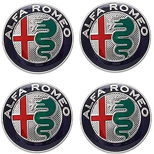4 Piezas Coche Tapacubos, para Alfa Romeo 147 156 GT Giulia 50mm Auto Protección Accesorios Prueba Polvo Impermeable Tapacubos