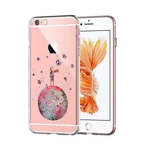 Caler Compatible con iPhone 6 Plus/iPhone 6s Plus Funda de Silicona Carcasa Ultrafina Transparente con Dibujos Diseño Cover Suave Flexible TPU Gel Encantador Caprichoso Protección Cases,Principito