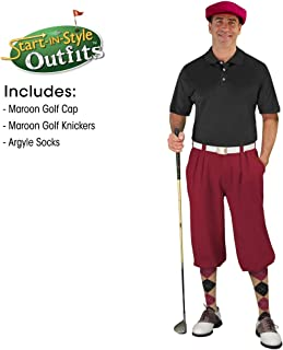Golf Knickers Mens Start-in-Style Outfit - Maroon