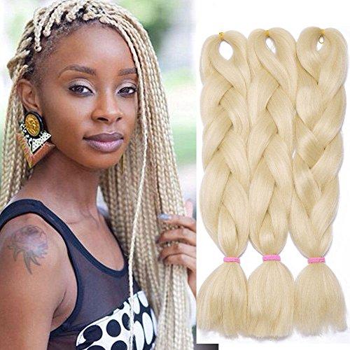 3Pcs Extensions de cheveux à tresser 60cm Extension Cheveux Tresse Braiding Hair Tressage synthétique Braids Postiche Blond de blanchiment