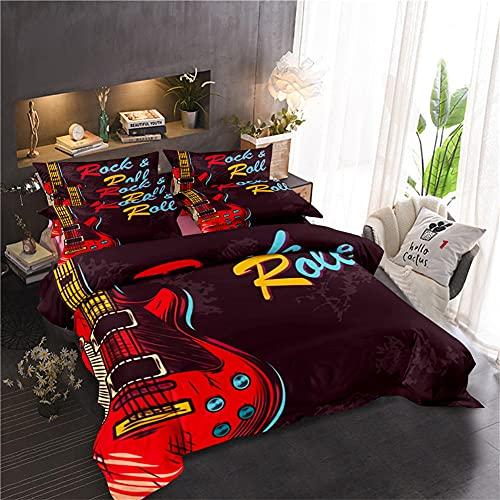 Funda Nordica Rock and Roll Juego De Ropa De Cama 135X200 Cm 100% Poliéster con Cremallera con 2 Fundas De Almohada 50X70 Cm Adecuado para Cuatro Estaciones