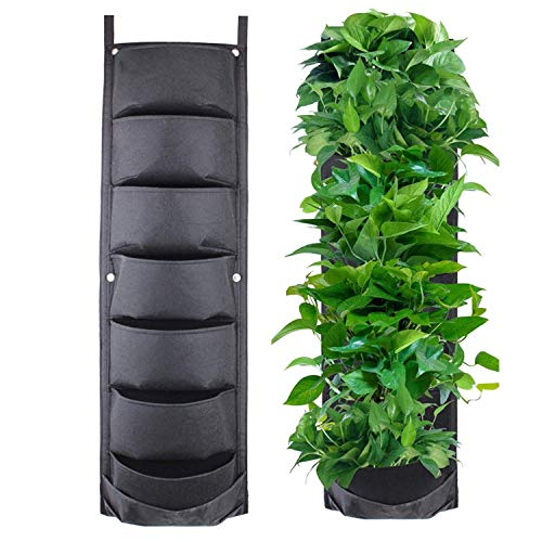 Mioke Bolsas para Plantas 7 Bolsillos Colgante Jardín Vertical Plantador de Pared para Decoración Jardín Hogar