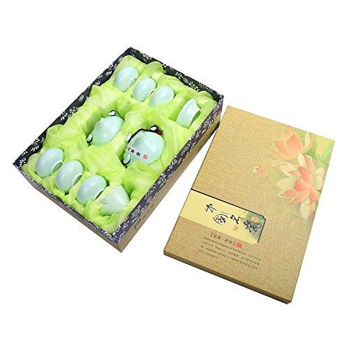 YaeKoo Kungfu Tee Set 10-teilig Chinesisch Teeservice 200ml Porzellan Teekanne und 6 Teebecher in Geschenkbox im Vintage-Stil, chinesischer und japanischer Stil, handgefertigt