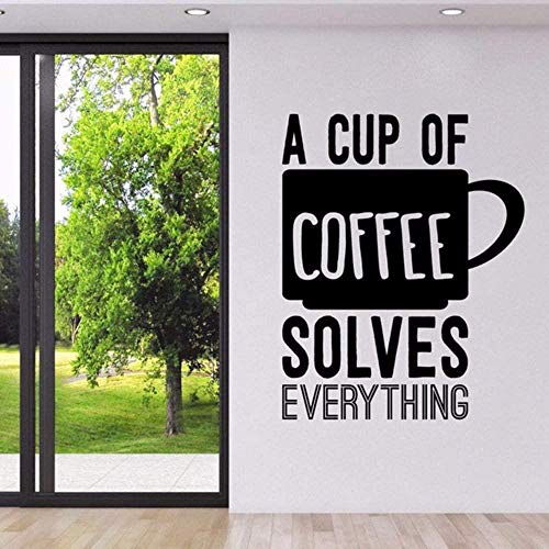 Muursticker behang sticker koffie citaten muurtattoos Een kop koffie lost alles Coffeeshop keukenbord logo muurkunst muurschildering 57 * 71 cm