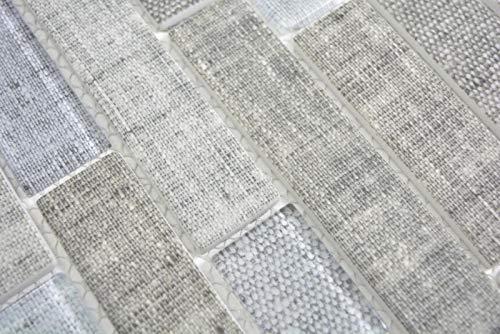 Transluzent Mosaik Brick Verbund ECO Glasmosaik Textil grau Wand Fliesenspiegel Küche Bad MOS24-2097_m