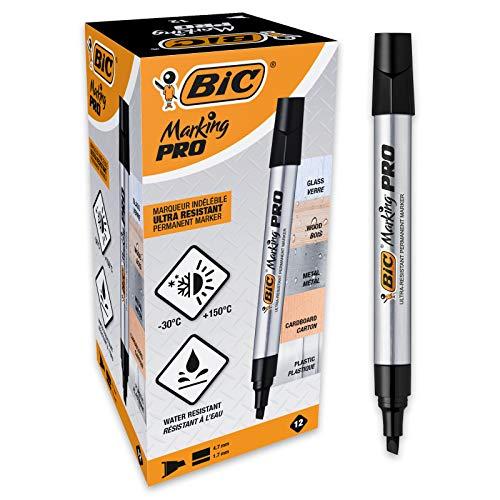 BIC Marking Pro - Caja de 12 unidades, marcadores permanentes punta biselada, color negro
