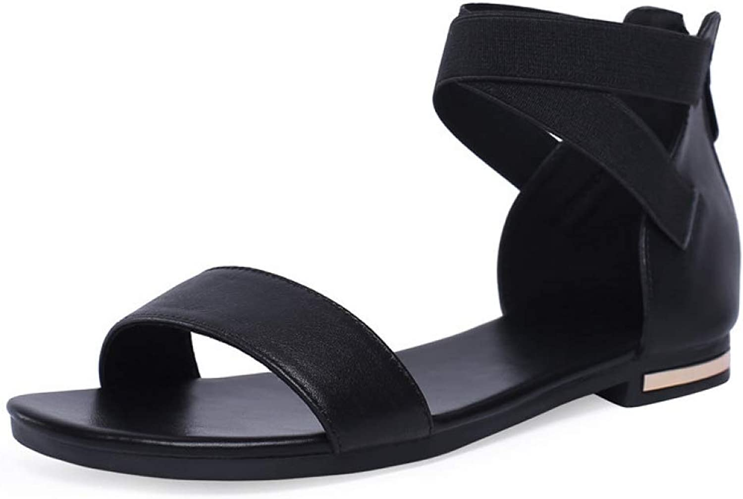 T-JULY Flat Sandals for Women Open Toe Summer Casual Genuine Leather Ladies shoes