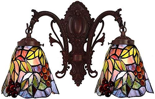 DALUXE Tiffany lámpara de Pared UVA Pastoral época de Velas de Color araña lámpara de Pared en la luz Vidrio de iluminación Mano por Noche Habitación,Segundo