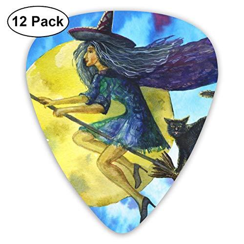 Gitaar Pick Heks Vliegen Op Een Broomstick 12 Stuk Gitaar Paddle Set Gemaakt Van Milieubescherming ABS Materiaal, Geschikt voor Gitaren, Quads, Etc