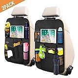 Auto Rückenlehnenschutz 2 Stück Autositz Organizer Wasserdichter Rücksitzschoner für Kinder Kick Matten Schutz für Autositz mit Durchsichtigem Große Taschen und iPad-Tablet-Halter