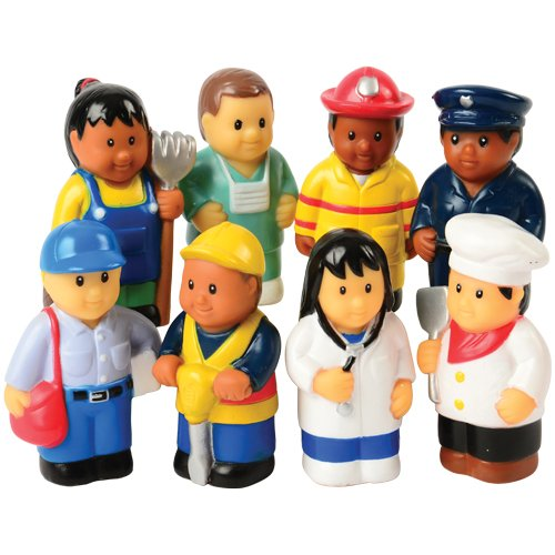 Constructive Playthings Set of Eight 3' H. Vinyl Community Workers Figures for Ages 3 Years and Up