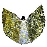 Xmiral Schmetterlingsflügel Bunt LED Tanzen Flügel Kostüme Glühen KEINE BATTERIE(A Gold-Erwachsener)