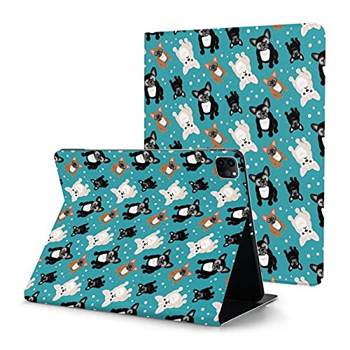 Cute French Bulldog Frenchie Puppies Case for iPad Pro 12.9 Case 2020 with Pencil Holder Slim Shell Smart Auto Wake Sleep Cover