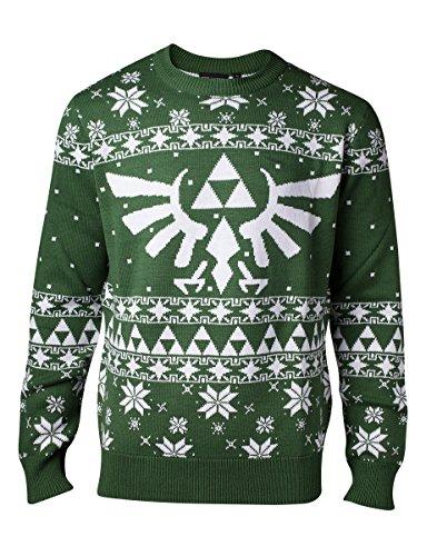 Nintendo Herren Knitted Royal Crest Christmas Sweater Pullover, Grün (Grün), Large