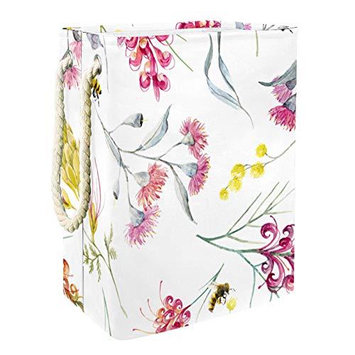 VFSS Cesta de lavandería impermeable y ligera Oxford redonda plegable con asas para el hogar, diseño de abejas, color blanco, rosa