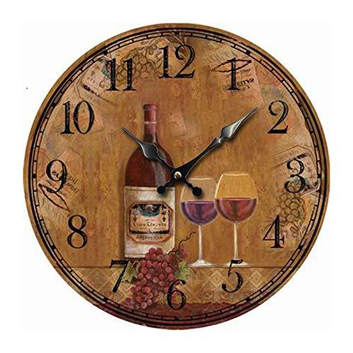 Relojes De Pared Silenciosos De Madera Retro Sin Tictac Vino Tinto Vino UVA Relojes De Pared Relojes De Pared para Dormitorios
