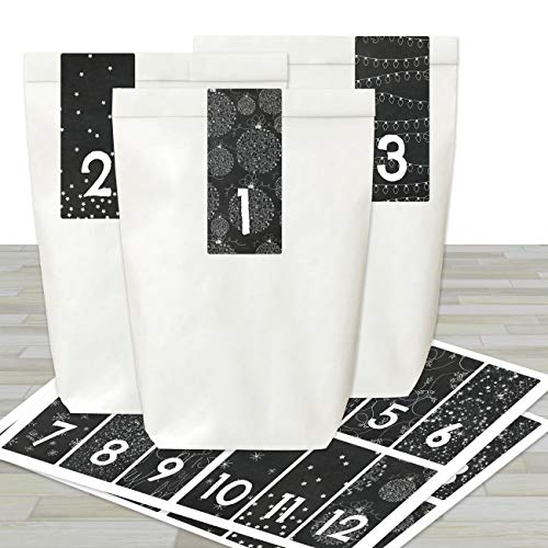 Adventskalender om te vullen en te knutselen, complete set, 24 witte papieren zakken en 24 stickers met cijfers voor kinderen en volwassenen
