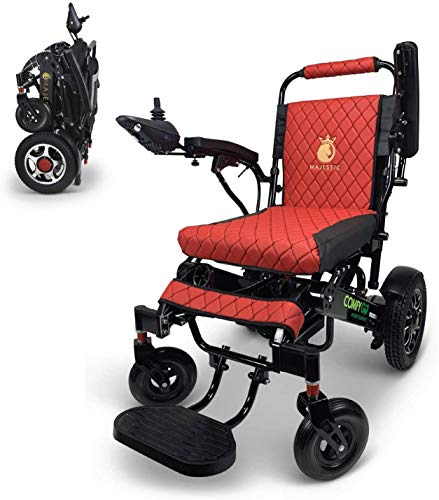 "2020 Best Limited Edition Remote Control Foldable Electric Wheelchair Mobility Aid Lightweight Motorized Power Wheelchairs (19.5"" Wide) (Black-Red)"