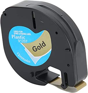 Etikettband ersättningsdelar band 12 mm x 4 m svart guld kompatibel bandetikettband ersättning för Dymo Letratag etikettare