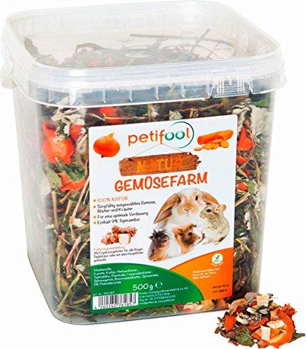 petifool Gemüsefarm 500g - Ergänzungsfutter für Nager - natürliches Nagerfutter für Kaninchen, Meerschweinchen, Hamster, Chinchilla & mehr - ohne künstliche Zusätze - 100% Natur - artgerechtes Futter