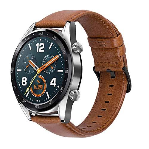 MroTech 22mm Correa Cuero Piel Compatible para Huawei Watch GT2 /GT Sport/Active/Elegant Pulsera de Repuesto para Samsung Galaxy 46mm/Gear S3 Frontier/Classic Banda de Reloj Marrón con Hebilla Negra