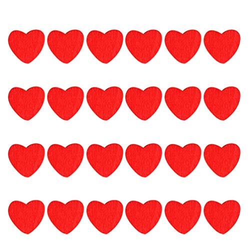 ABOOFAN 100 Pz Legno Cuore Rosso Adesivi Adesivi in Legno Minuscolo Flatback Abbellimento Artigianato Fai da Te Decalcomanie San per Carta Scrapbooking Decorazione Fai da Te