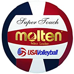 Official Volleyball of USA Volleyball Official Size and Weight, NFHS Approved Premium Japanese Leather Cover Uni-Bladder Cotton Wrapped Construction Indoor Use, 2- Year Warranty