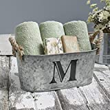 The Lakeside Collection Galvanized Metal Monogram Bucket - Rustic Storage Bin with Rope Handles - M