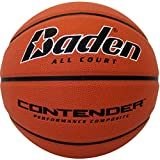 Baden Contender Official Wide Channel Basketball, Natural Orange Color, 28.5-Inch