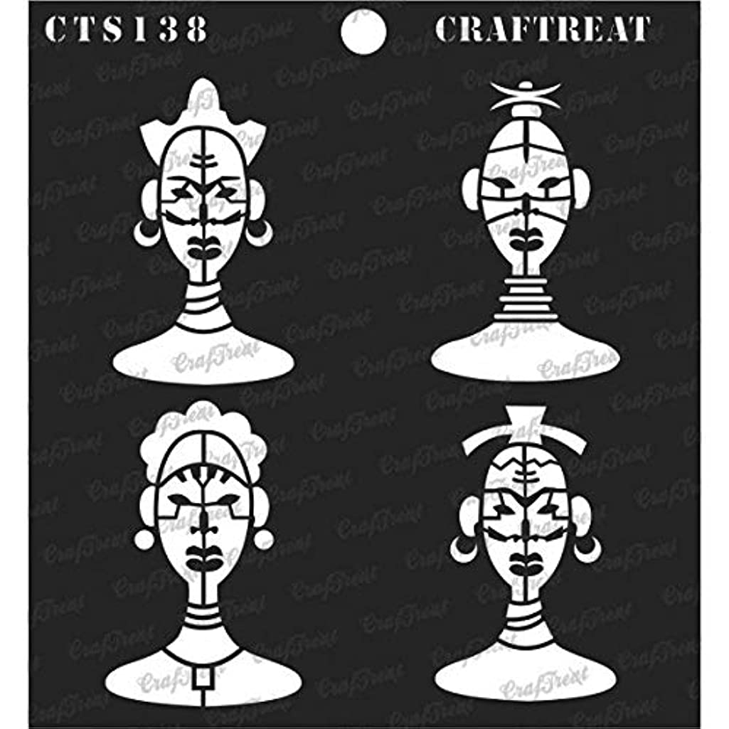 CrafTreat Stencil - Tribal Men Faces | Reusable Painting Template for Journal, Notebook, Home Decor, Crafting, DIY Albums, Scrapbook and Printing on Paper, Floor, Wall, Tile, Fabric, Wood 6