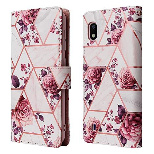 ZDCASE Galaxy A01 Funda, Empalme Mármol Patrón PU Cuero A Prueba de choques TPU Suave con Tarjeta Ranura Soporte Billetera Protectora Funda para Samsung Galaxy A01 - Rosa