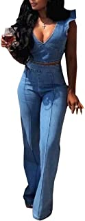 Womens Classic Fit Washed Denim Button Down Sleeveless Long Jumpsuit