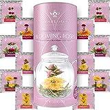 Teabloom Fiori di Tè alla Rosa Confezione Regalo - 12 Fiori di Tè Assortiti Legati a Mano - Confezione Regalo Tè alle Rose