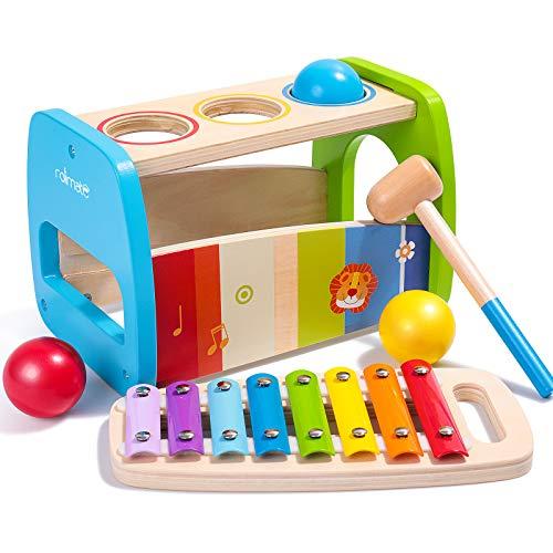 Rolimate Hämmern von hämmerndem Spielzeug, Buntem Xylophon-Spielzeug, Montessori-Lernspielzeug für die frühe Bildung, Beste Geburtstagsgeschenke für Jungen und Mädchen ab 1 2 3+ Jahren
