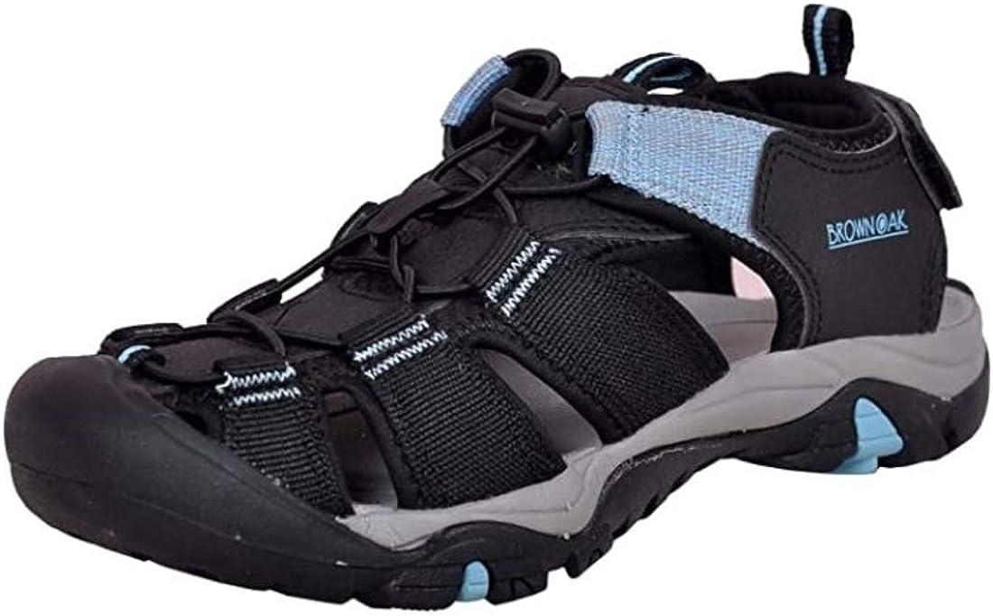 Brown Oak Womens Waterproof Hiking Trekking Walking Comfortable Outdoor Durable Breathable Bungee Closure Adjustable Velcro BackStrap Water Shoes Sports Sandals